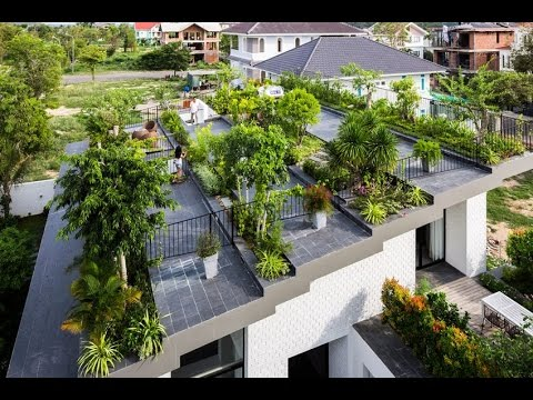 Modern House Design With Large Hanging Garden On The Roof