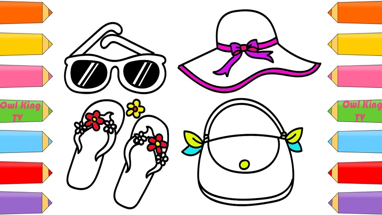 how to draw accessories for girls coloring pages handbag hat glasses lipstick owl king tv