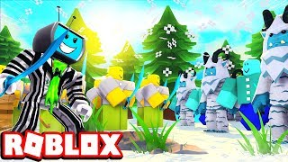 Fighting Ice Yetis and Monsters In The Tundra Biome | Roblox Army Control Simulator