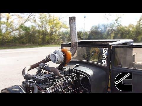 TWIN TURBO DIESEL '29 FORD MODEL A PICKUP 5.9 DODGE CUMMINS AT BYRON - YouTube