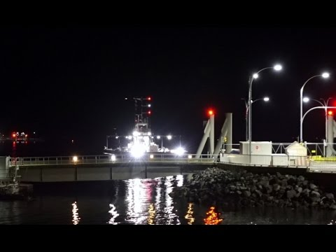 Baynes Sound Connector cable ferry at night