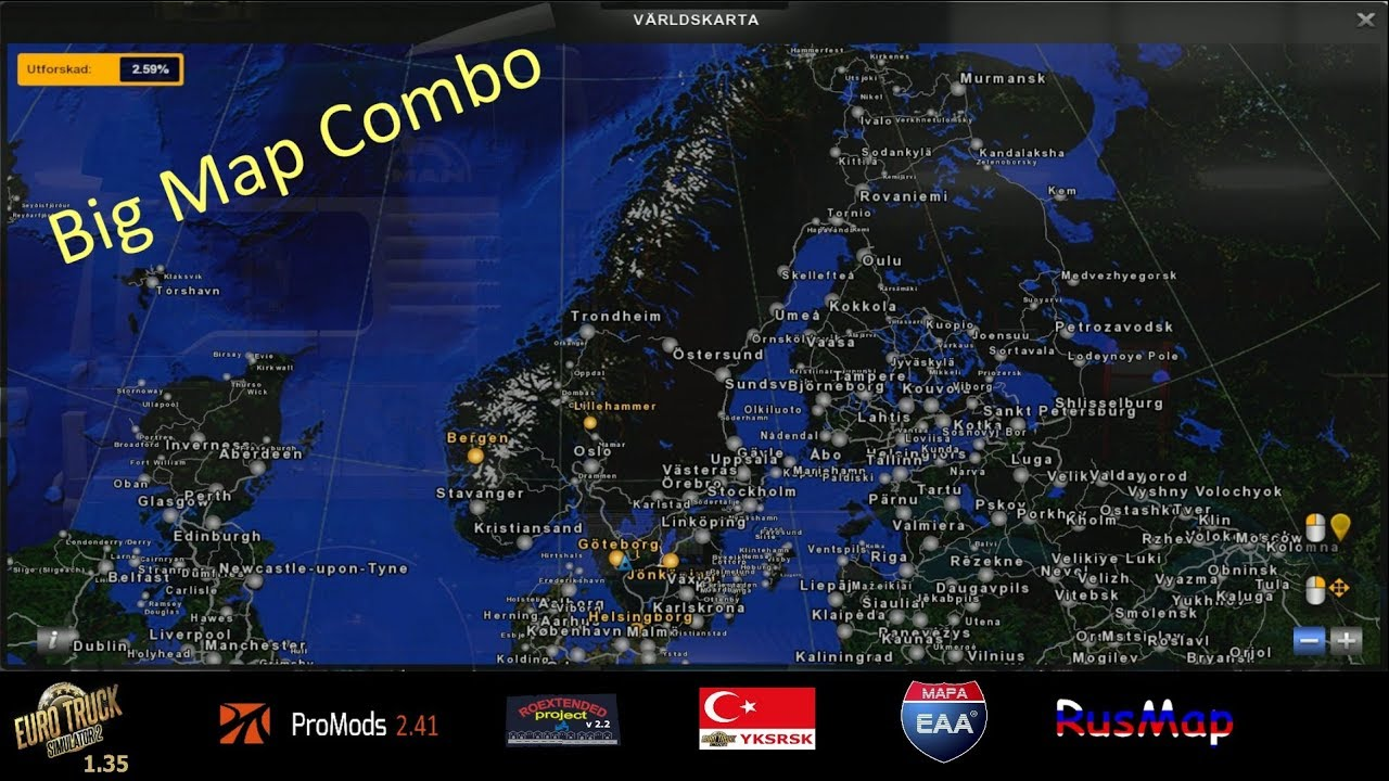 ETS2 1 35 I Big Map Combo Setup I Promods 2 41 I RoEx 2 2 I Load