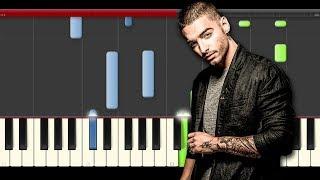 Maluma Cuatro Babys piano midi tutorial sheet partitura cover app karaoke