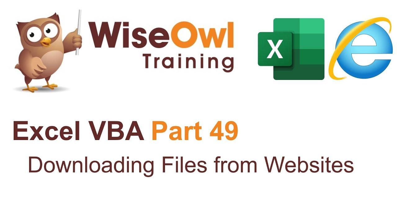 VBA - scraping websites videos | Excel VBA Part 49 - Downloading