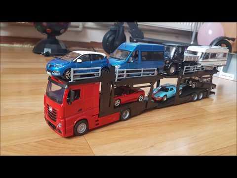 Diecast Mercedes Benz Actros Car Transporter 1:43 Scale. Review. Автомодели . Обзор