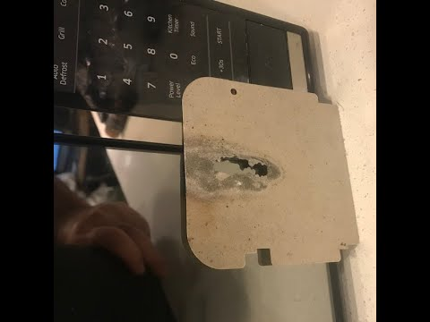 2 min repair your microwave that sparks and catches fire inside replace mica waveguide cover