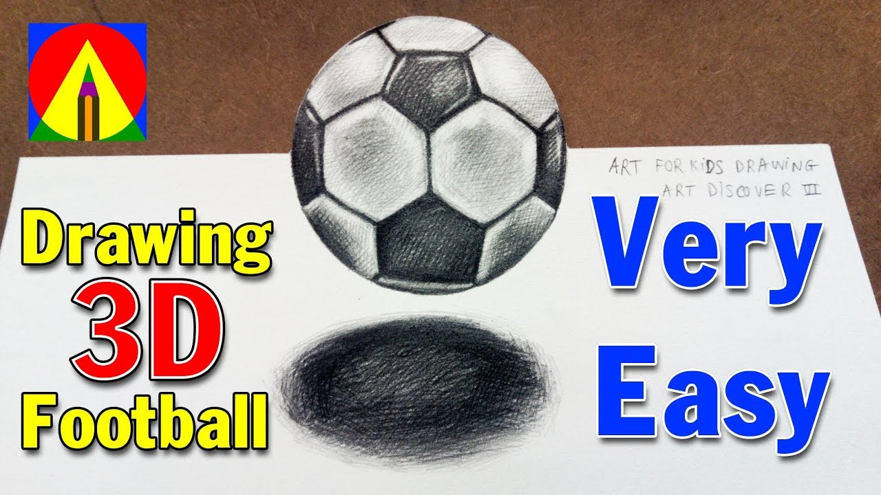 How to Draw a Soccer Ball [Football] Drawing 3D floating ...