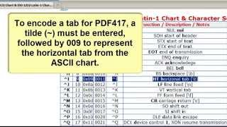 How to Encode a Horizontal Tab in a PDF417 in Microsoft Excel