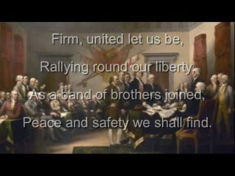 Hail Columbia! with Lyrics; First American National Anthem - United States of America