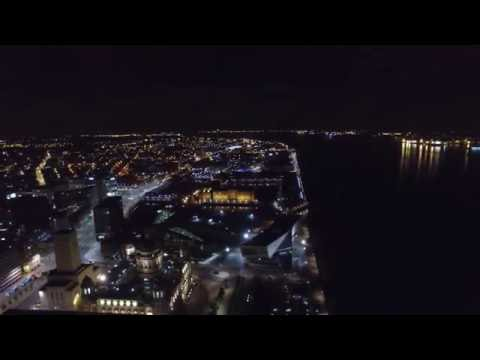 Liverpool Waterfront at Night (4K video)