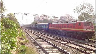 Red Bull BSL WAP-4 Hauled 22103 LTT - Faizabad SF Exp Honks And Races Towards Kasara...!!!