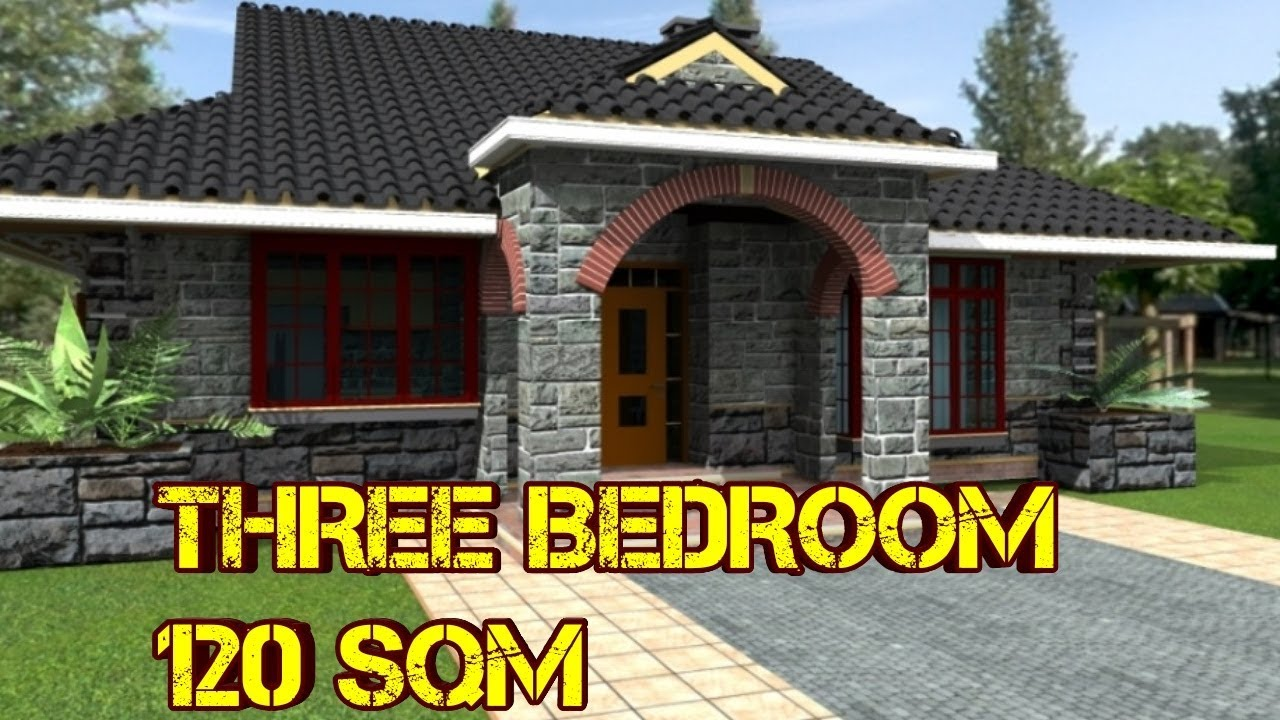 Three Bedroom House Plan Build In 120 Square Meters Youtube