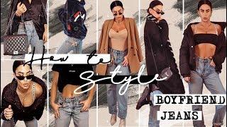 "How I style ""Boyfriend Jeans"" || 5 outfit Inspo || Tashietinks #stylevideo"