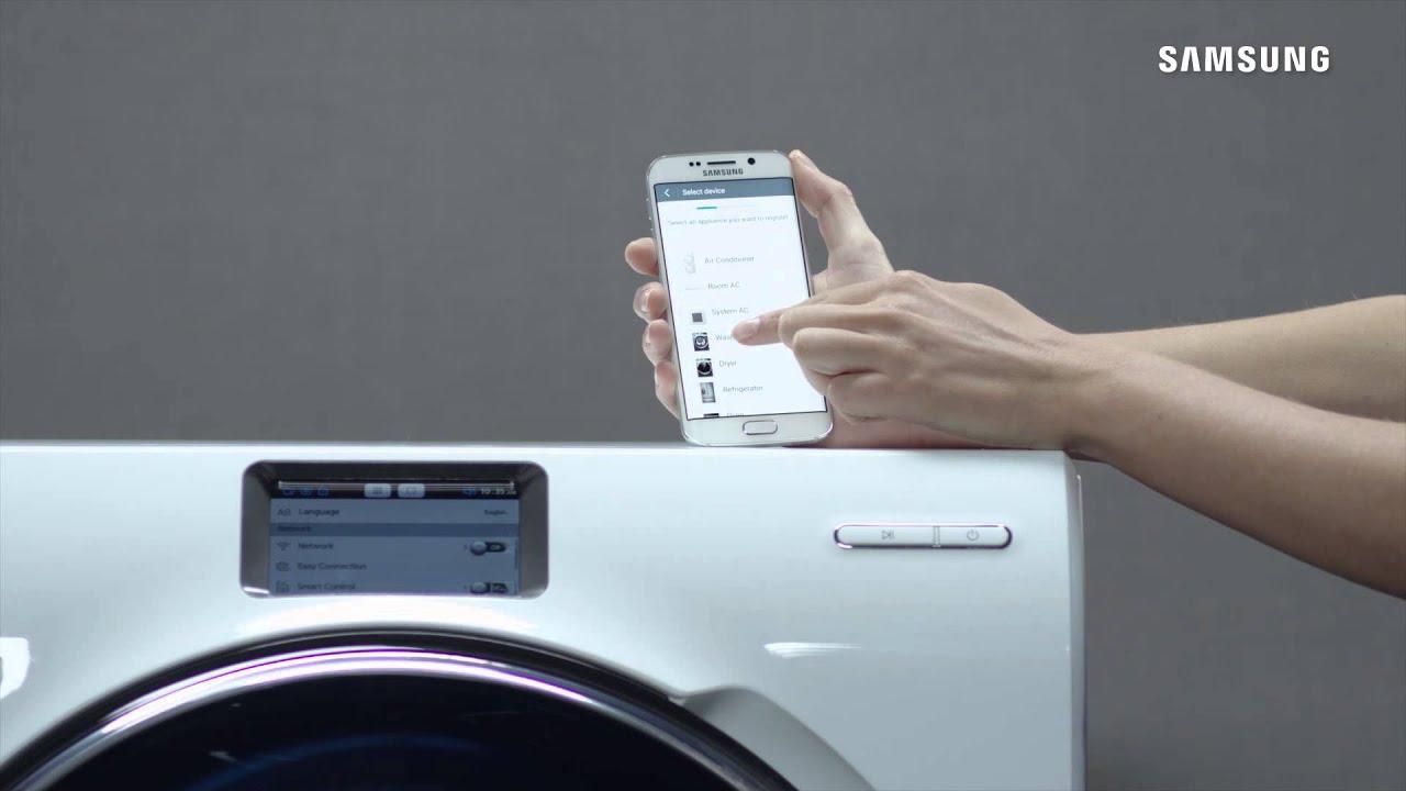 Eine samsung crystal blue waschmaschine über wlan mit der smart home