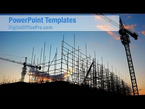 Construction Site PowerPoint Template Backgrounds - DigitalOfficePro #07639W