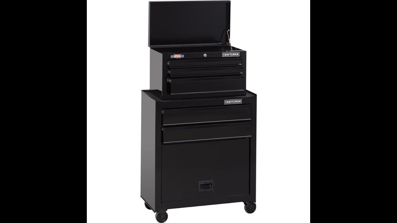 CRAFTSMAN 1000 Series 5-Drawer Ball-Bearing Steel Tool Chest Combo Review  Made In USA CMST22653BK