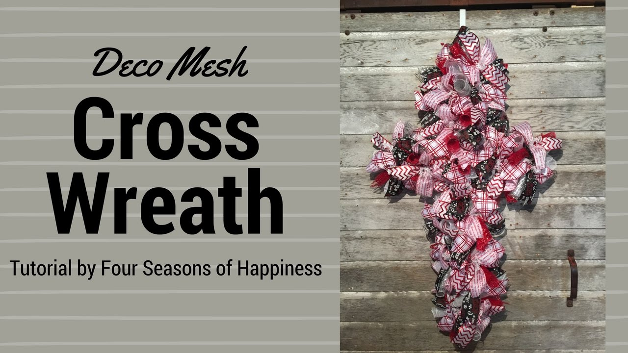 Simple deco mesh cross wreath, how to make a deco mesh cross, deco ...