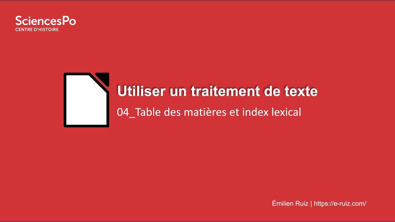 Youtube Video: Traitement de texte : 04_Table des matières et index