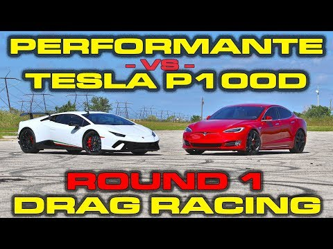 Tesla Model S P100D Ludicrous vs Lamborghini Huracan Performante Drag Racing Round 1