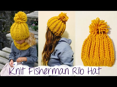 Knit Fishermans Rib stitch & How to Bind off FunnyCat.TV