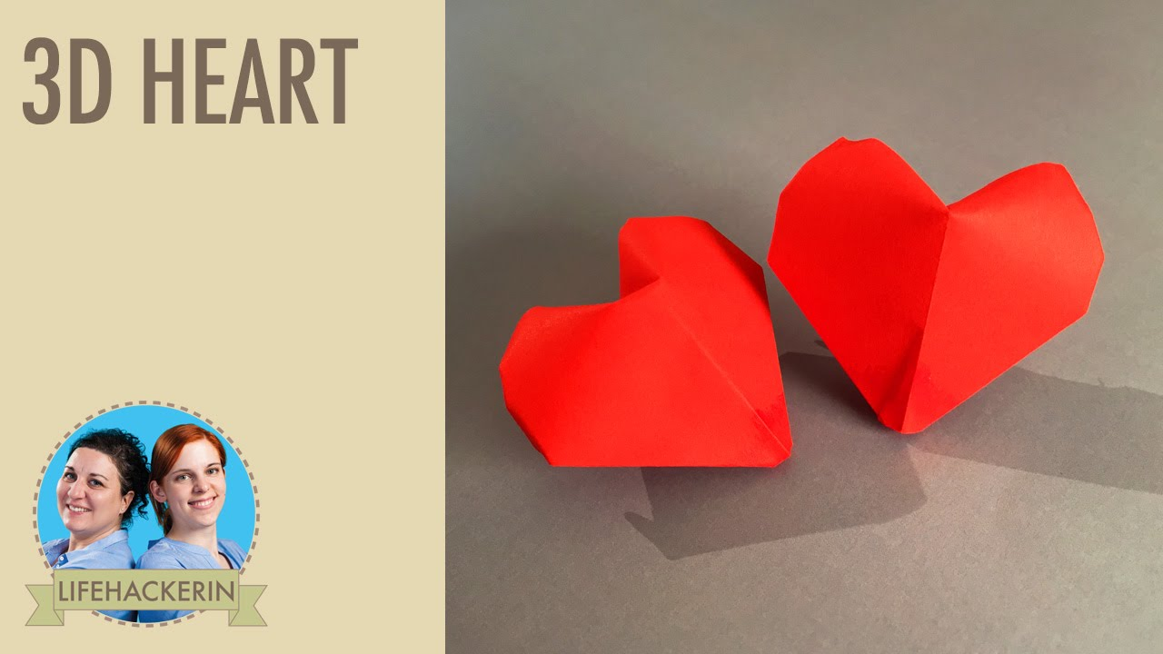 paper heart papier herz 3d origami valentinstag. Black Bedroom Furniture Sets. Home Design Ideas