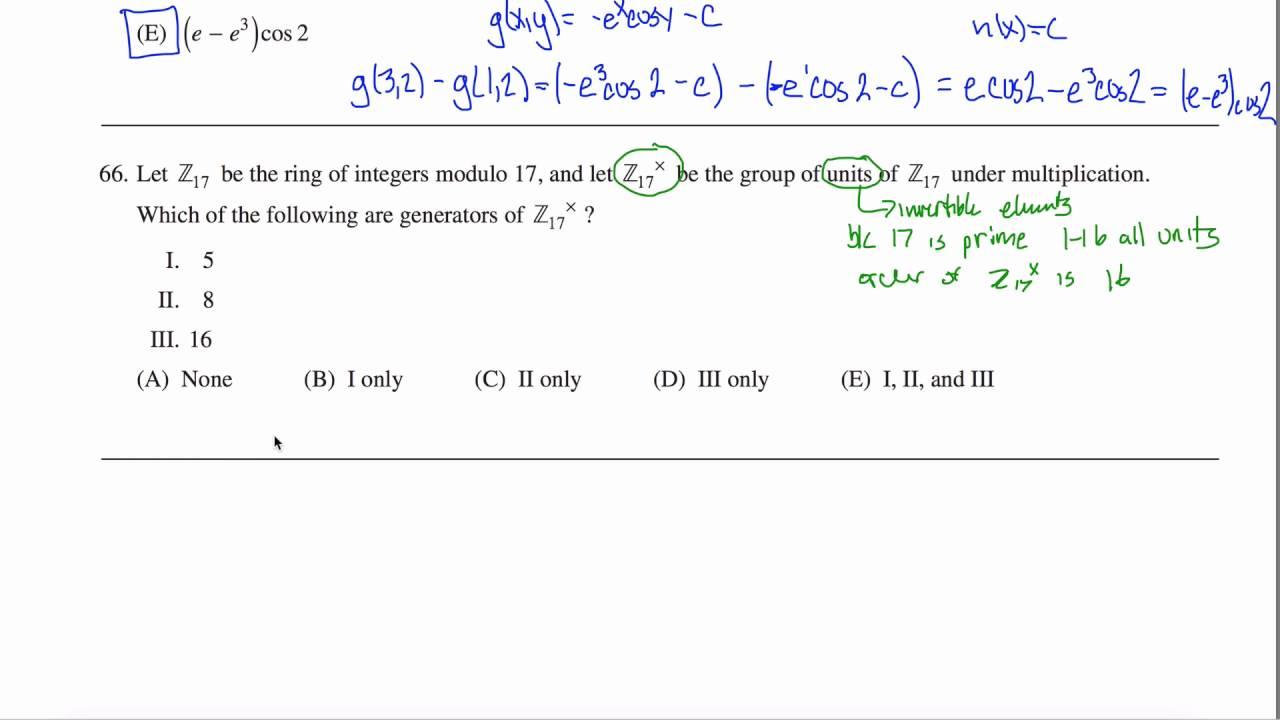 Math Subject GRE Practice Test #66 GR1268 - YouTube