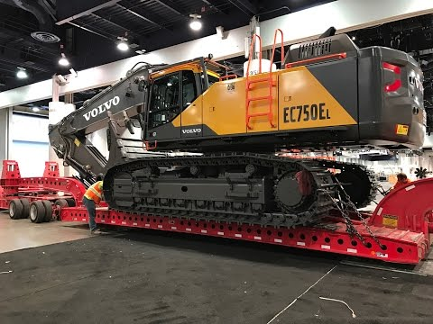 Massive Volvo  EC750EL Excavator moving out of Conexpo 2017