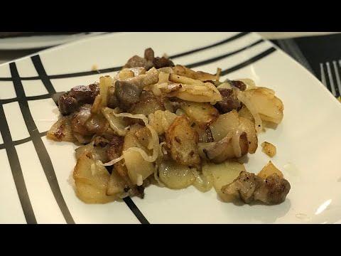 Жареная картошка с мясом и луком . Мясо Свинина. Что приготовить на обед . Что подать к картошке