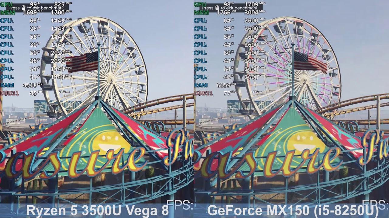 Gta V Nvidia Geforce Mx150 I5 8250u Vs Amd Ryzen 5 3500u Vega 8 Benchmark Comparison Youtube
