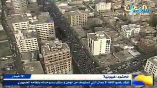 صور جوية تظهر حجم الحشود الكبيرة التي خرجت في صنعاء دعما للاصطفاف الوطني