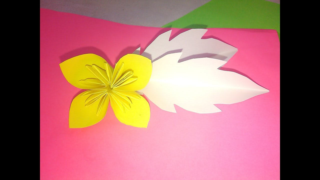Four Petal Paper Flower Origami Paper Crafts Tutorial Youtube