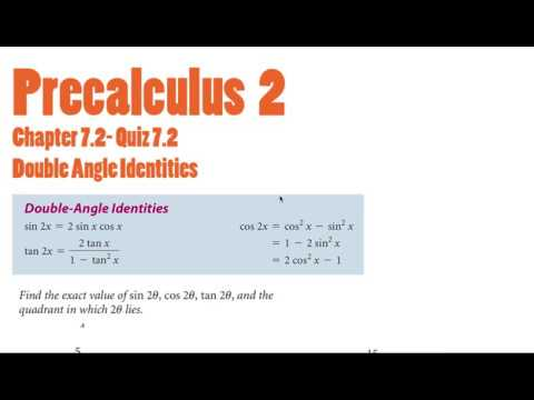 Quiz 7.2 | Chapter 7.2 | Double Angle Identities | Precalculus 2