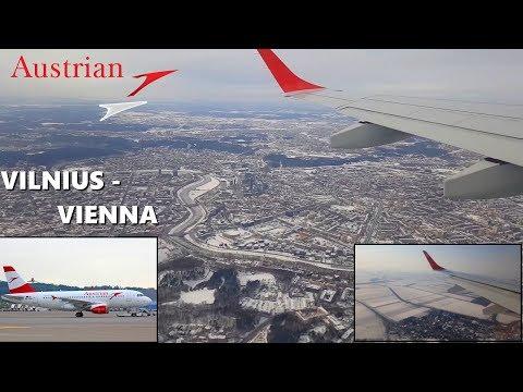AUSTRIAN AIRLINES: VILNIUS (EYVI) - VIENNA (LOWW) FULL FLIGHT - Embraer E195 [FULL HD 60p]