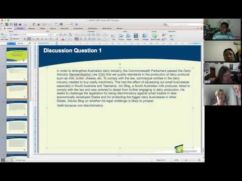 Australian Constitutional Law Week 8 Tutorial: Trade, Commerce and Industrial Relations (Part 1)