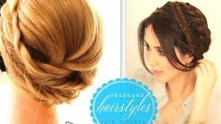 cute headband hairstyles 1   everyday crown braid   prom updo for medium long hair tutorial