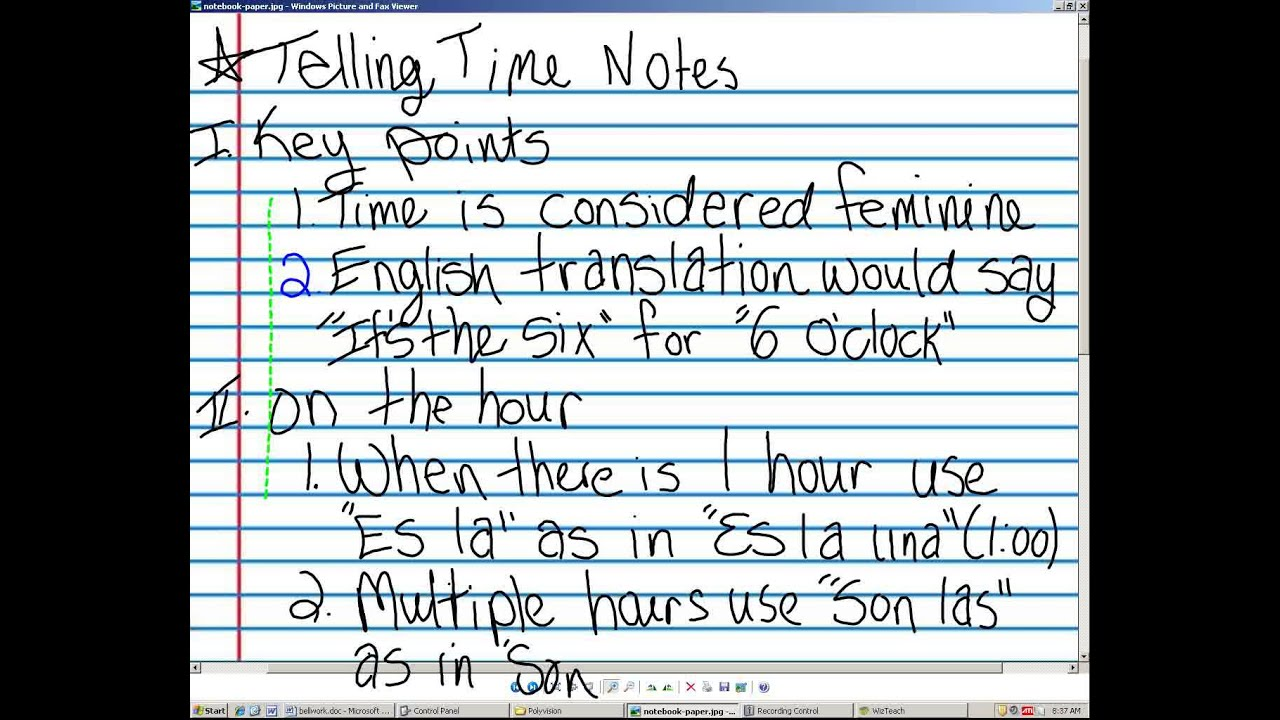 Telling time in Spanish day 1 notes - YouTube