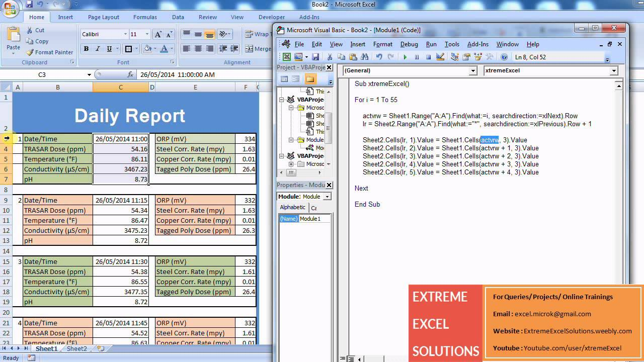 Advanced Excel Video Tutorial Generating Reports Using