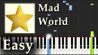 Mad World - Gary Jules - Piano Tutorial Synthesia Easy - How To Play
