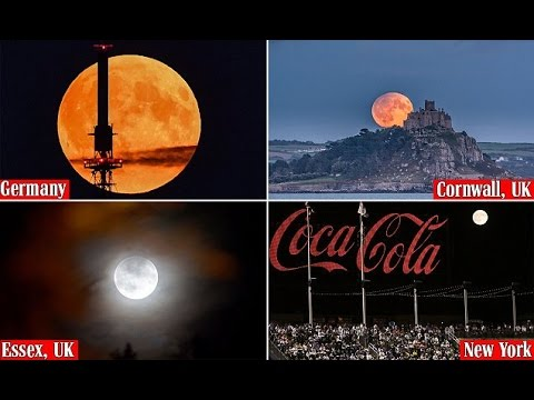 Beautiful harvest moon eclipse lights up the sky around the world
