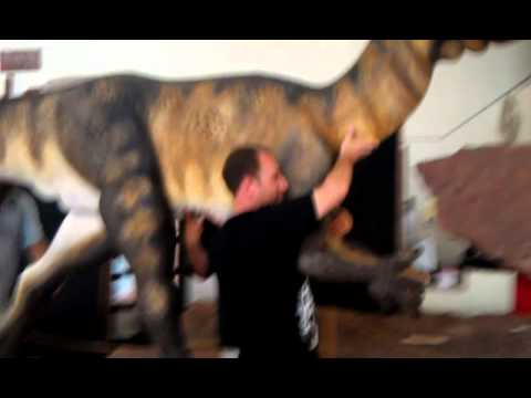 Moving the Dilophosaurus to the trackway