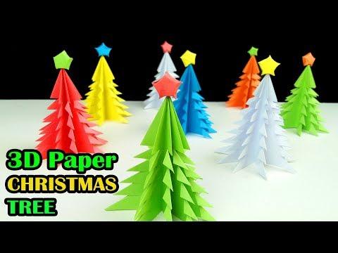 3D Paper Christmas Tree - How to Make a 3D Paper Xmas Tree DIY Tutorial