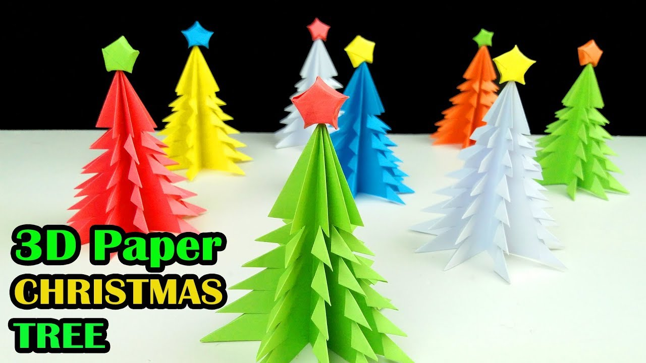 3D Paper Christmas Tree - How to Make a 3D Paper Xmas Tree DIY ...