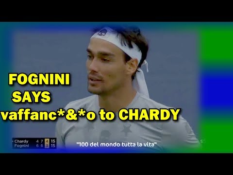 "Fabio Fognini insults and curse Words to Jeremy  Chardy ""vaffanc*&^o"""