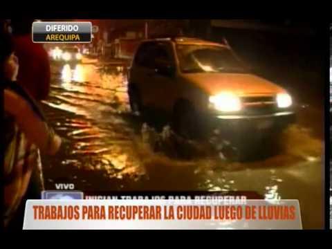 Trabajos para recuperar la ciudad de Arequipa luego de lluvias