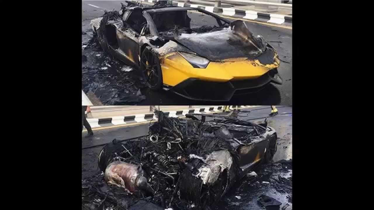 Lamborghini Aventador SV On FIRE   BURNING Dubai Sept 7 2015