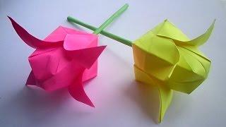 оригами цветок тюльпан, как сделать из бумаги тюльпан // how to make origami tulip flower