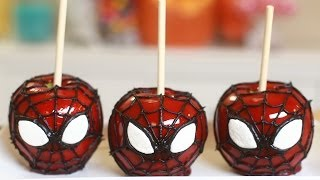 Spiderman Candy Apples - Nerdy Nummies