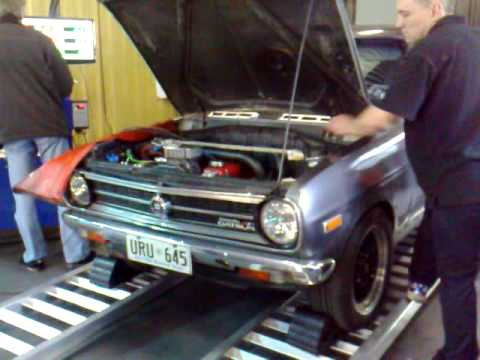 supercharged datsun 1200 on dyno