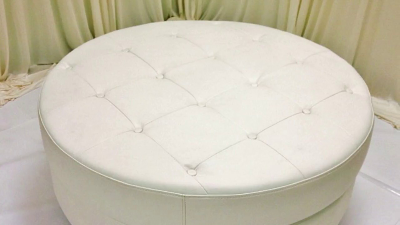 Round White Leather Ottoman Coffee Table Furniture