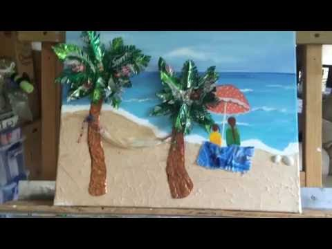 Original recycled hand painted mixed media beach scene with acrylic, metals, fabric
